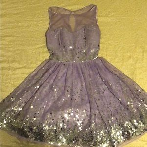 Ruby Rox Purple Sequin Homecoming Dress